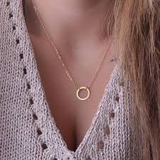 necklace with circle pendant images Eternity circle pendant layering necklace wanderlust beach jpg