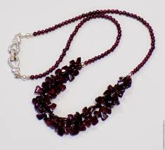 necklace stone bead images Necklace stone beads garnet shop online on livemaster with jpg