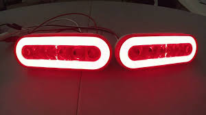 led trailer tail lights set of 2 led oval trailer brake light with red lens and red led