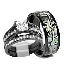 his and hers 925 sterling silver titanium camo wedding rings set