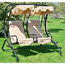 amazon com outsunny 2 person covered patio swing w pivot table