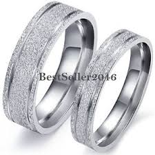 couples wedding rings frosted silver stainless steel mens womens engagement ring couples