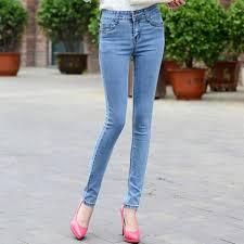 Light Blue High Waisted Jeans Garemay High Waist Jeans For Women Denim Pencil Jeans Trousers