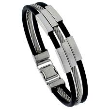 mens bracelet stainless steel rubber images Stainless steel rubber jpg