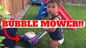fisher price bubble lawn mower for kids toy in action youtube