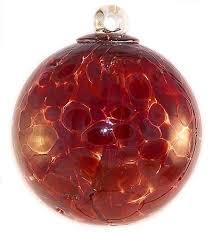 amazon com witch ball hand blown glass garnet red home kitchen