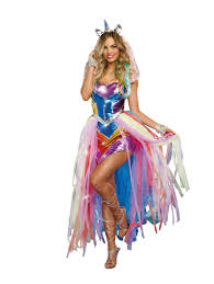 rainbow multi 4 piece unicorn fantasy costume fantasy costumes