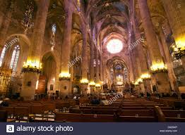 basilica cathedral palma mallorca spain inside arches and