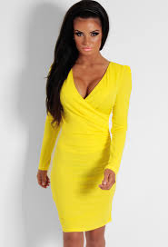 bodycon dresses yellow plunge wrap bodycon dress pink boutique