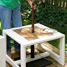 Diy Patio Umbrella Stand Make A Side Table Umbrella Stand A Freestanding Umbrella Will