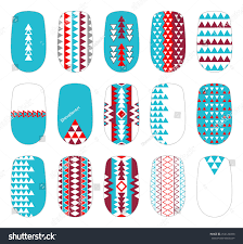 nail art colorful geometric templates manicure stock vector