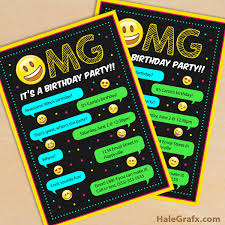 free printable emoji birthday party invitation birthday