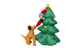 Christmas Yard Decor - 5 7 u0027 santa clause on tree chased by dog christmas yard outdoor