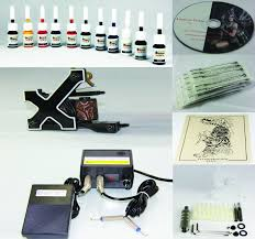 complete tattoo kit machine gun 11 color inks needles t1 t1
