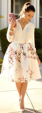 high waisted skirts white flowers print pleated high waisted sweet midi skirt