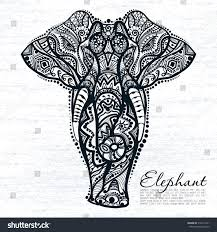 vector drawing elephant ethnic patterns india stock vector