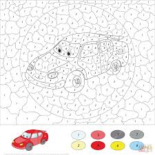 cartoon car color by number free printable coloring pages