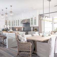 Mini Pendant Lights Over Kitchen Island Grey White Modern Farmhouse Kitchen U0026 Dining Nook Kitchens