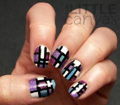 free hand color block nail art tutorial the little canvas