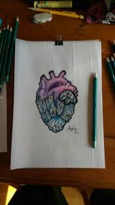 drawn crystal crystal heart pencil and in color drawn crystal