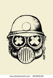gas mask skull helmetpencil drawing illustration stock vector