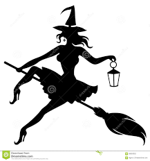 witch silhouette clipart silhouette witch flying on broom and holding lantern stock vector