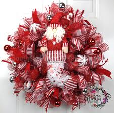 deco mesh christmas wreath for door or wall red red silver white