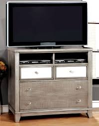 Bedroom Set With Media Chest Bryant Silver Crocodile Leatherette Bedroom Set From Furniture Of