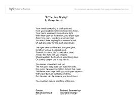 analysis little boy crying gcse english marked by teachers com