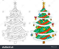 christmas tree coloring book isolated stock vector 722594590