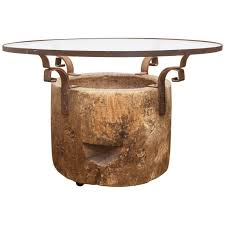 large scale cypress tree driftwood dining table or console base at