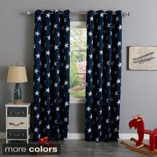 Shop For Aurora Home Room Darkening Big Star Print Silver Grommet - Room darkening curtains for kids rooms