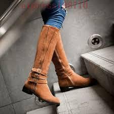 s boots plus size calf winter biker buckles low heel wide calf high leg knee