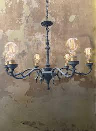 minecraft chandelier design iron lamp restored and painted in grey by laretrovisora lampara