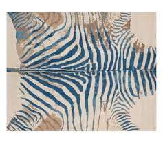 Zebra Print Throw Rug Printed Zebra Rug Blue Pottery Barn