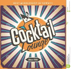 retro cocktail party retro tin sign design for cocktail lounge stock vector image