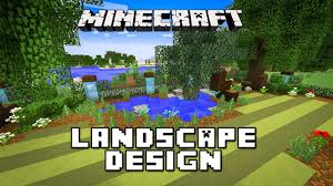 minecraft tutorial landscaping design for pond trees and lawn