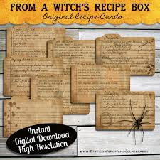 Halloween Free Printable Cards Halloween Witch Recipe Cards Instant Digital Download Vintage