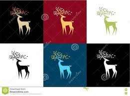 set of stylized reindeer in a different color scheme stock vector