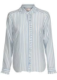 custom made aika striped silk shirt dusty blue