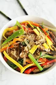 Main Dish Vegetables - korean stir fry vegetable noodles japchae the tasty bite