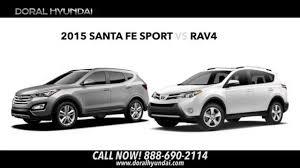 2015 hyundai santa fe sport vs toyota rav4 comparison video