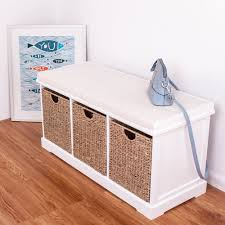 white wooden storage bench seater with 3 sea grass basket drawers