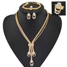 bracelet necklace earrings set images Women gold glated beads collar necklace earrings bracelet fine jpg