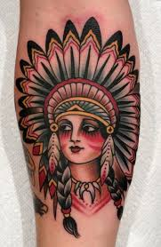traditional native indian face tattoo design for forearm by