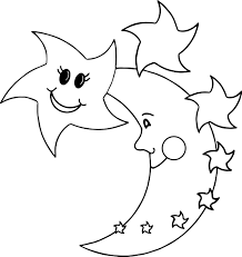 happy star moon coloring wecoloringpage