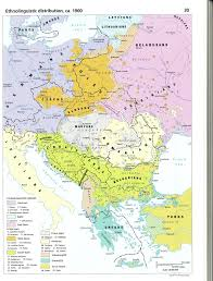 Central Europe Map ethnolinguistic distribution ca 1900 from the historical atlas