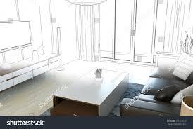 sketch design living room 3d wireframe stock illustration