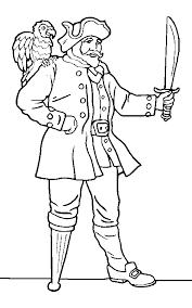 pirate captain parrot coloring print free