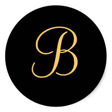 monogram letter b gold colored letter b on black monogram sticker zazzle